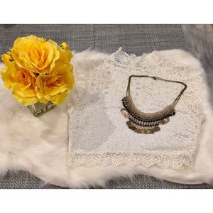 BEBE women's Lace Crop Top (M)